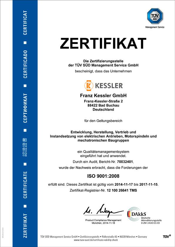 Kessler TÜV Zertifikat