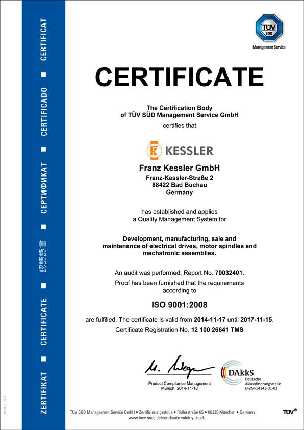 Kessler TÜV Certificate