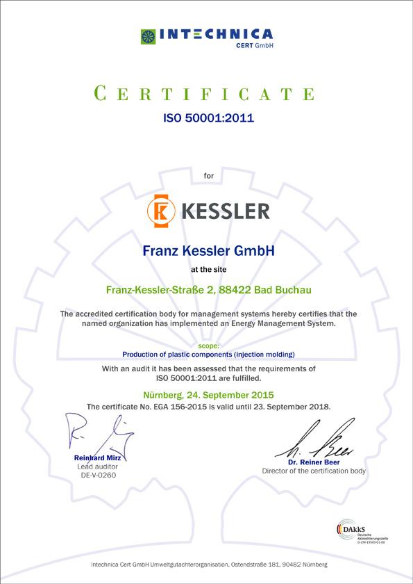 Kessler ISO Certificate