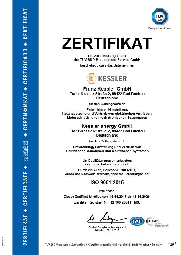 Franz Kessler GmbH TÜV Zertifikat