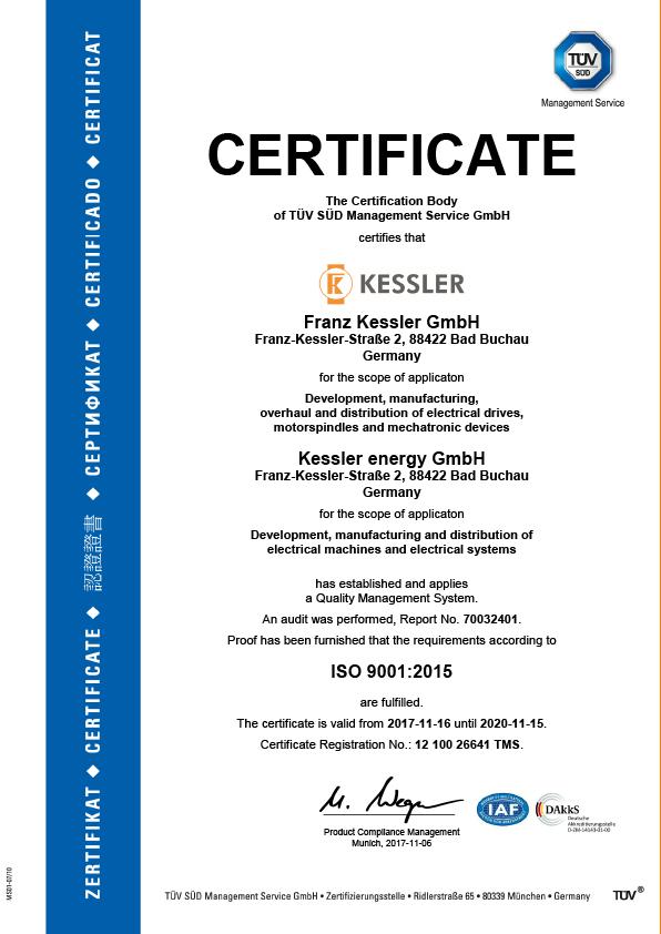 Franz Kessler GmbH TÜV Certificate