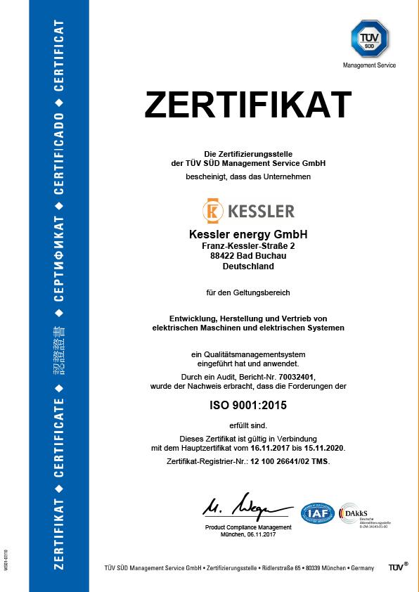 Kessler Energy GmbH TÜV Zertifikat
