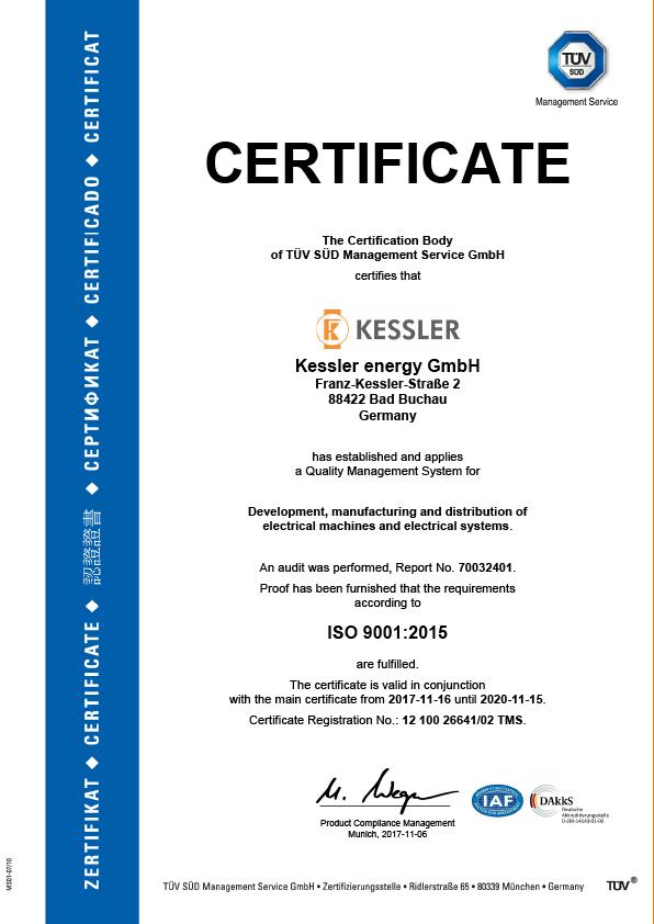 Kessler Energy TÜV Certificate