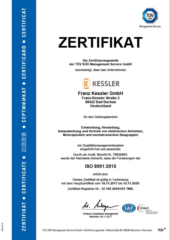 Kessler Gruppe TÜV Zertifikat