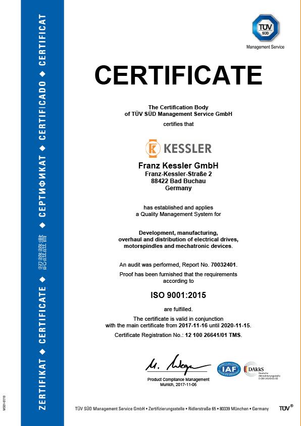 Kessler Group TÜV Certificate